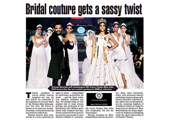 The Bridea collection showcasing Miss India