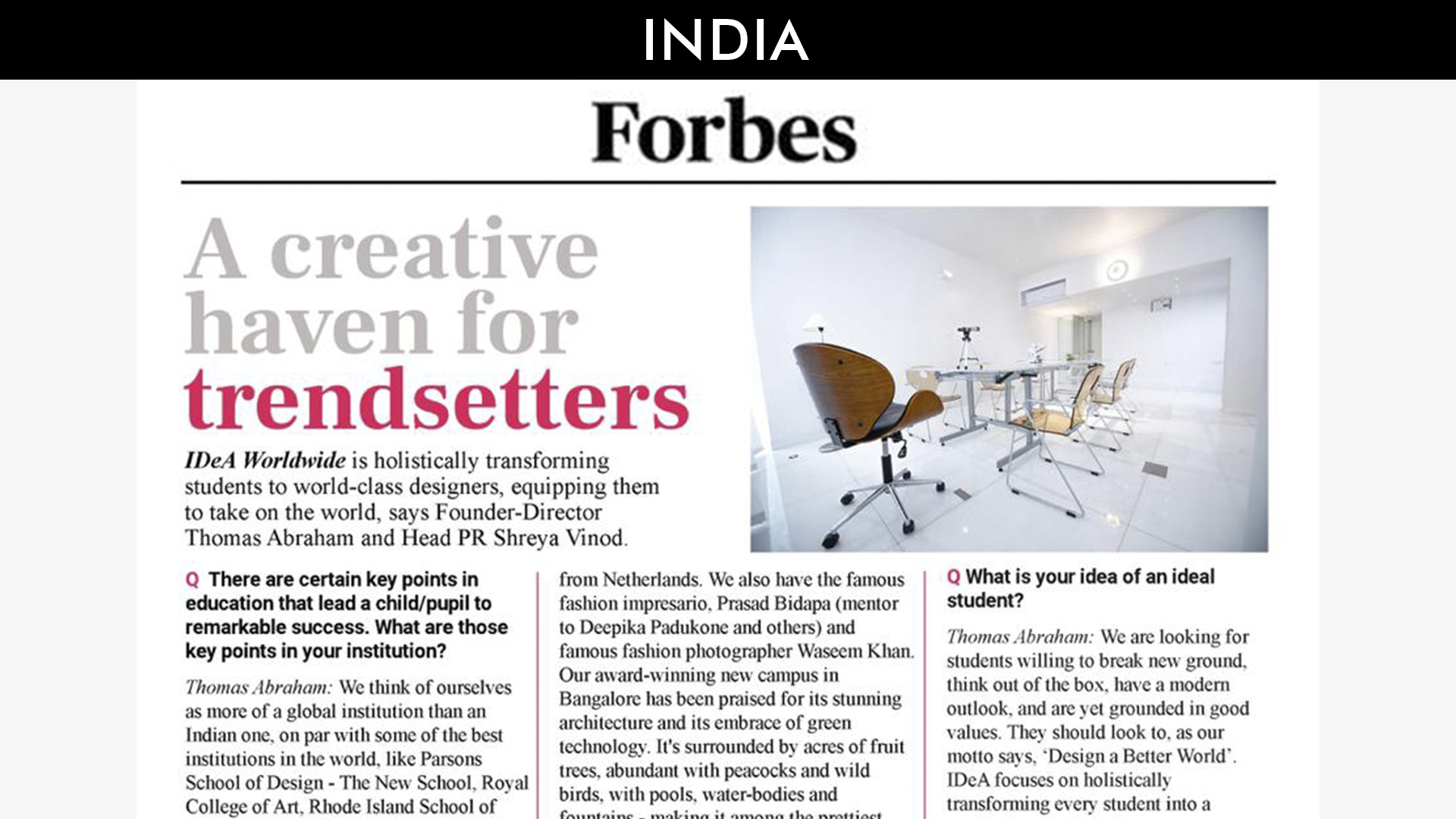 Idea Worldwide featured on the times of india